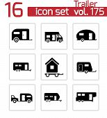 stock photo of trailer park  - Vector black trailer icons set white background - JPG
