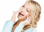 communication and technology concept - businesswoman with cell phone making a call
