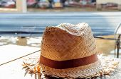 picture of headgear  - hat headgear on the table against soft light - JPG