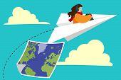 Girl Flying On Paper Plane