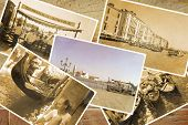 Collage Retro Postkarte, Gondel Service With Gondolier At Pier