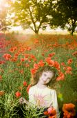 Smiling Little Girl In The Poppy Field
