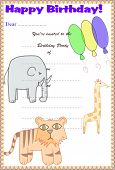 Children's Birthday Party Invitation - Safari Theme