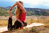 Young Woman Make Flexible Yoga Exercise