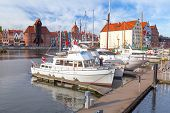 GDANSK, POLAND - 29 OCT 2013: Harbor at Motlawa river in old town of Gdansk on 29 October 2013. Gdan