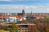 GDANSK, POLAND - 29 OCT 2013: Panorama of Gdansk city centre on 29 October 2013. Gdansk is a Polish