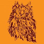 Owl on an orange background, hipster symbol, vector illustration. Illustration for t-shirt.