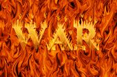 Word war engulfed in flames on infernal background - concept of danger and hardship of war