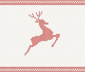 Christmas and Winter knitted pattern with jumping deer