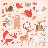 Cartoon set of cute wild animals in the forest: bear, fox, hedgehog, rabbit, snail, deer, owl, bird,