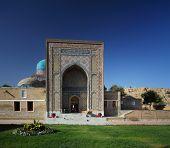 Entrance to complex of oriental memorial buildings of Shah i Zinda. Samarkand, Uzbekistan