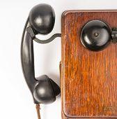 Vintage Obsolete Oak Telephone Set Bakelite Handset Wallbox Ringer