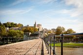 picture of avignon  - Bridge Saint Benezet with Avignon city behind Avignon France - JPG