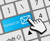 Keyboard Contact Us button with mouse hand cursor vector illustr