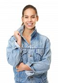 Young Woman Smiling In Denim Jeans Jacket