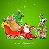 illustration of Santa Claus feeding reindeer in Christmas