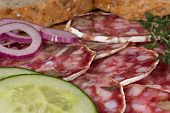 salami with walnuts timchnom green cucumber and red onion
