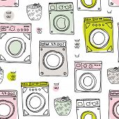 Seamless laundry day cleaning around the house vintage illustration background pattern in vector