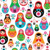 Seamless retro Russian Doll illustration cover design background pattern in vector
