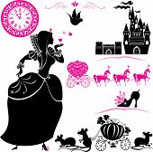 Fairytale Set - Silhouettes Of Cinderella, Pumpkin Carriage With Mouses, Castle And Clock. poster