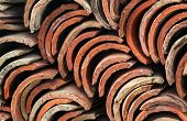 Stack Of Old Red Roof Tiles