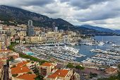The Principality of Monaco, 13 October, 2013. View of the shore of the bay and yacht berth