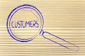 Finding Customers, Magnifying Glass Focusing On Clients