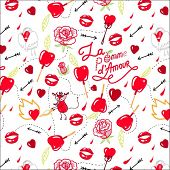 bright background seamless pattern with red candy apples, hearts, arrows, lips and roses