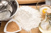 Baking Ingredients With Rolling-pin On Board
