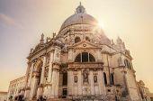 Venice, Italy. Basilica Santa Maria della Salute in sunshine