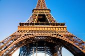 Eiffel Tower at wide angle. Middle section Blue sunny sky. Paris, France