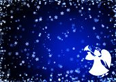 Christmas blue background with snowflakes and angel