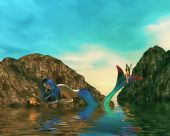 foto of nymphet  - One mermaid talking to fairy in the ocean - JPG