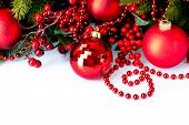 Christmas. Christmas and New Year Baubles and Decorations isolated on White Background.Holiday Borde