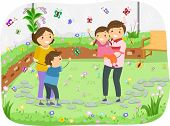 Illustration of a Family Having Some Quality Time in a Butterfly Garden