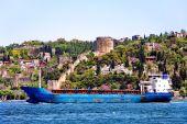 Cargo Ship Passing On Bosporus