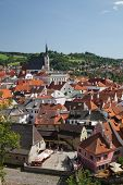 Cesky Krumlov, Czech Republic, August 21, 2012: The St. Vit Church. The Tourists Visit The National