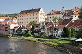 Cesky Krumlov, Czech Republic, August 21, 2012: The Historical Houses Of City. The Tourists Visit Th