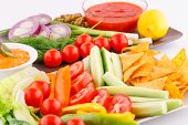 Vegetables, Olives, Nachos, Red And Cheese Sause