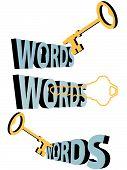 Palavras-chave palavras-chave ouro Keyhole símbolo de pesquisa 3D