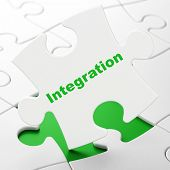 Finance concept: Integration on puzzle background