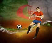 Abstract waves aroun soccer player on the national flag of Algeria