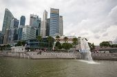 SINGAPORE - NOVEMBER 05, 2012: Marina Bay promenade view the Central Business District with office b