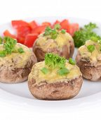 Stuffed mushrooms on plate isolated on white