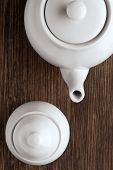 white china tea pot