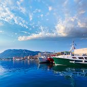 Denia Port with Montgo mountain fisherboats in Alicante province Spain
