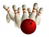 Scattered vintage skittle and bowling ball on white background
