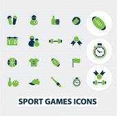 sport games icons, signs set, vector