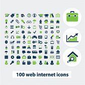 100 website internet icons, web design set, vector
