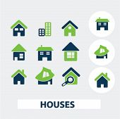 houses, buildings icons, signs set, vector